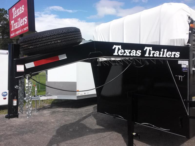 ST2012G TEXAS TRAILERS 20' GOOSENECK STOCK TRAILER W/ FLAT BAR SIDES