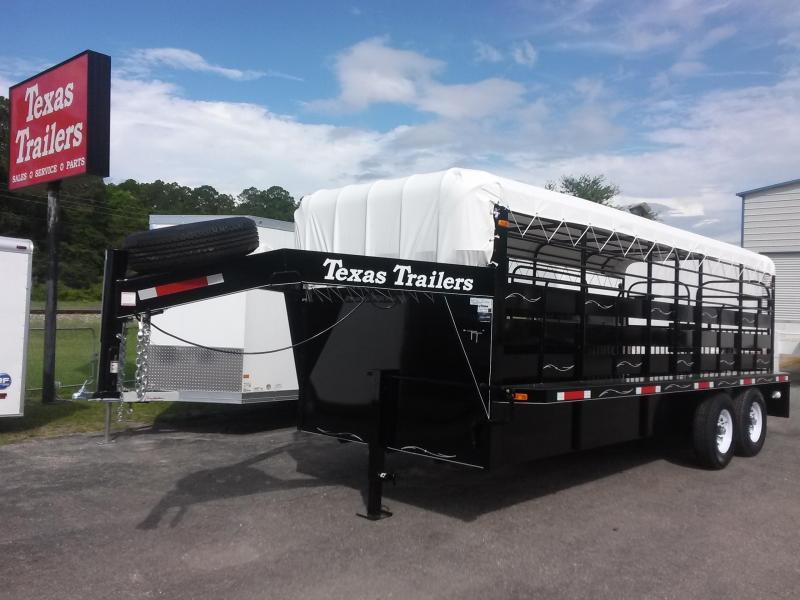 ST2012G TEXAS TRAILERS 20' GOOSENECK STOCK TRAILER W/ FLAT BAR SIDES in Ashburn, VA