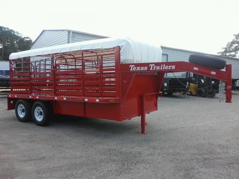 ST1612G TEXAS TRAILERS 16' GOOSENECK STOCK TRAILER W/ COLOR UPGRADE