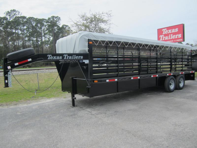 ST2414G TEXAS TRAILERS 24' GOOSENECK STOCK TRAILER W/ FULL WALK OUT ESCAPE DOOR