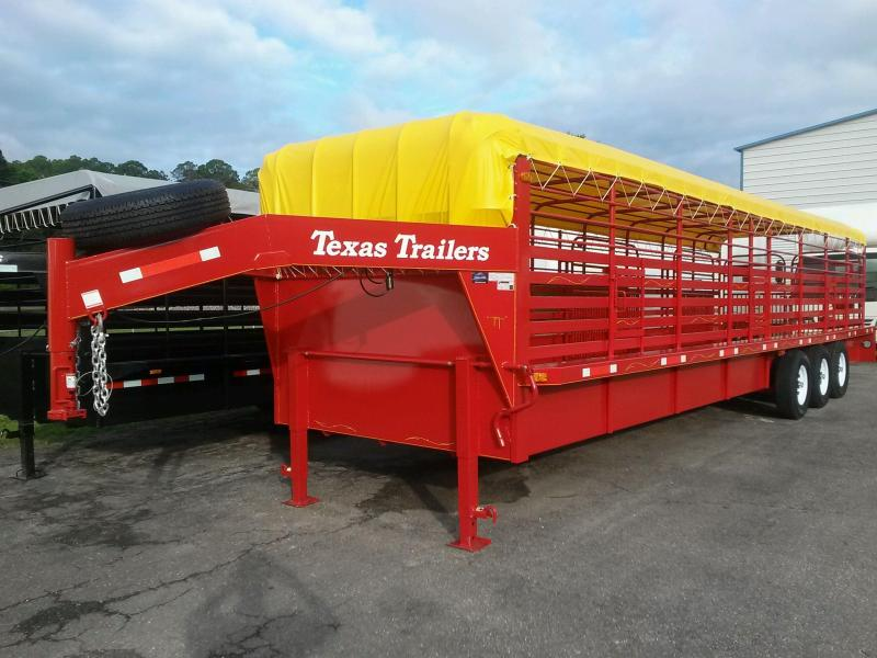 ST3221G TEXAS TRAILERS 32' GOOSENECK STOCK TRAILER W/ TRIPLE AXLES AND CUSTOM OPTIONS