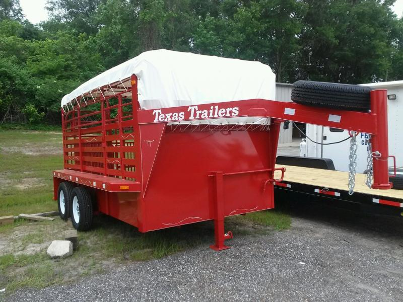 ST1270G TEXAS TRAILERS 12' GOOSENECK STOCK TRAILER W/ ADDED CUT GATE AND COLOR UPGRADE in Ashburn, VA