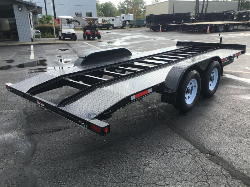 CH1870 TEXAS TRAILERS 18' CAR HAULER W/ SLIDE OUT RAMPS & OPEN STEEL DECK