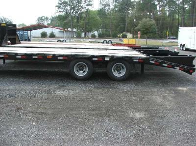 22GN-30BK+5MR BIG TEX 35' GOOSENECK DUAL TANDEM FLAT BED W/ MEGA RAMPS & FREE SPARE TIRE