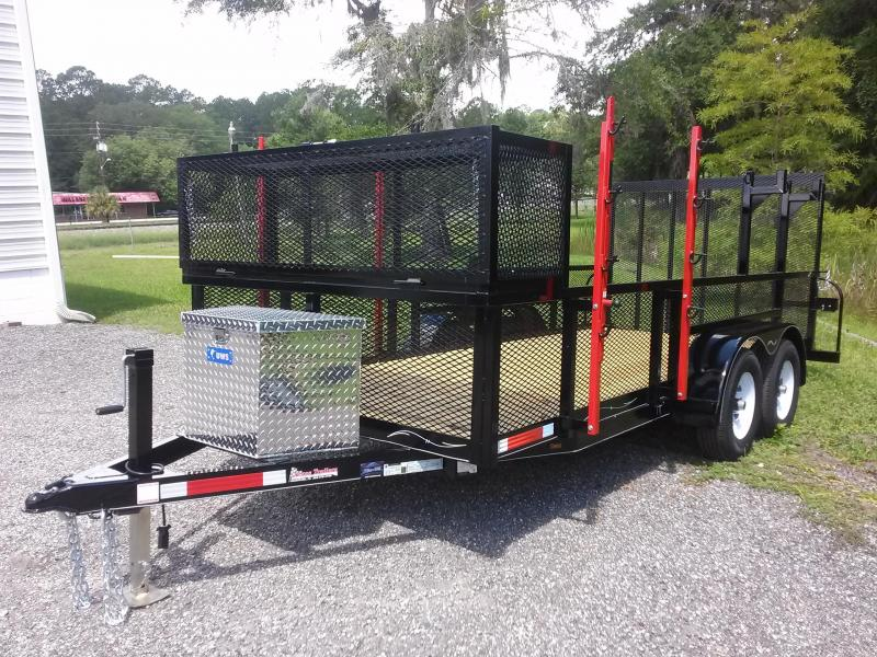 "LM61610 TEXAS TRAILERS 6'10""X16' LAWN MAINTENANCE TRAILER W/ CUSTOM OPTIONS"