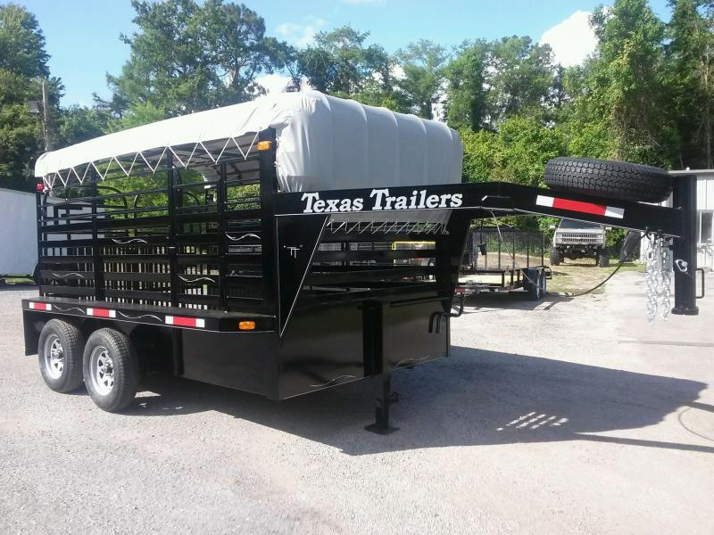 ST1270G TEXAS TRAILERS 12' GOOSENECK STOCK TRAILER W/ OPEN BULKHEAD AND CUSTOM OPTIONS