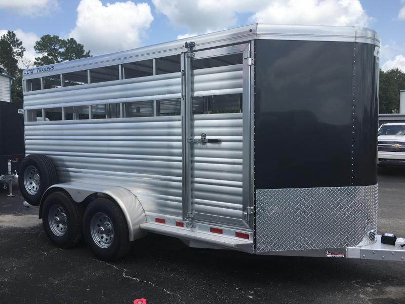 "CMS0440-16 CM 6'8"" X 16' ALUMINUM STOCKER W/ CUT GATE AND COMBO REAR GATE W/ FULL WALK OUT ESCAPE DOOR AND 5200# AXLES"