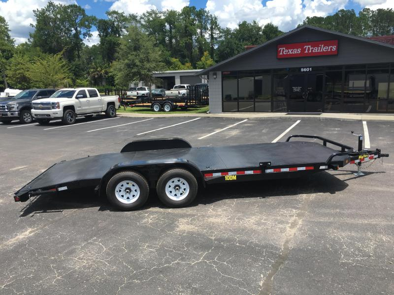 10DM-20BK BIG TEX 20' STEEL DECK CAR HAULER W/ STABILIZER JACKS