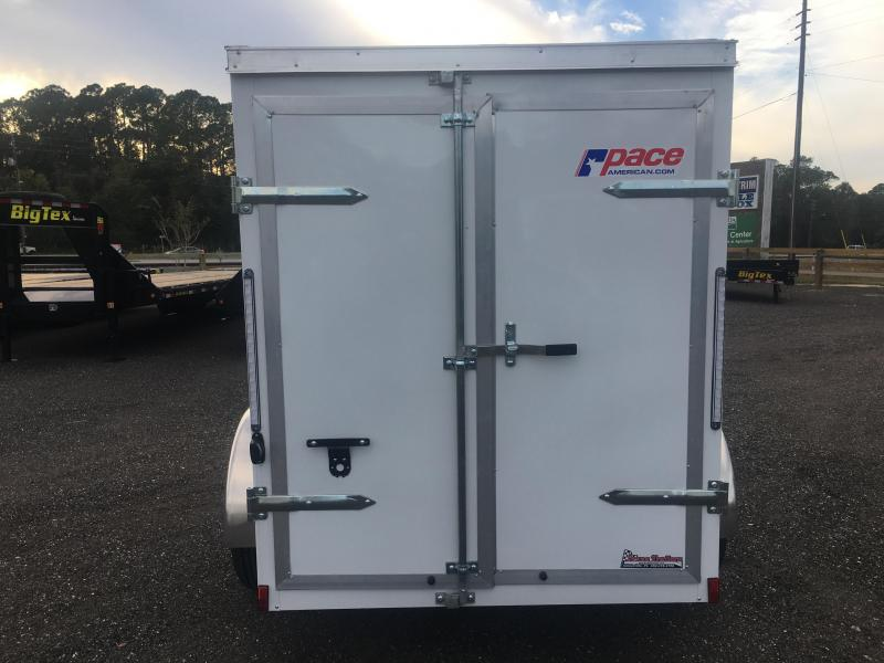 JV5X8SI2 PACE AMERICAN 5 X 8 ENCLOSED CARGO TRAILER W/ DOUBLE REAR DOORS & SIDE DOOR