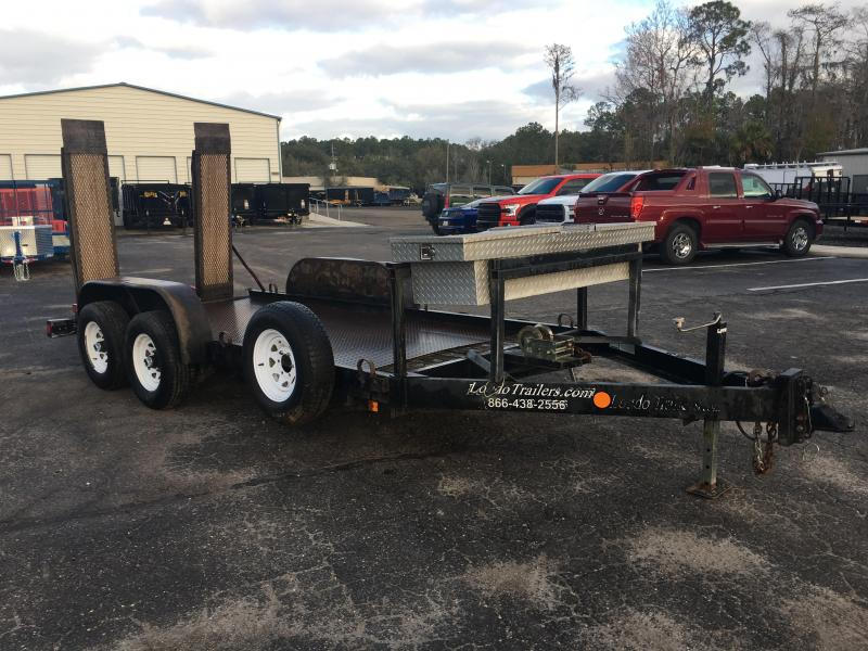 "2008 LOUDO 5'8"" X 14' STEEL DECK EQUIPMENT TRAILER W/ 6' RAMPS"