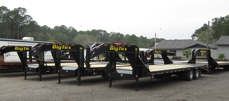 22GN-20BK+5MR BIG TEX 25' GOOSENECK DUAL TANDEM FLAT BED W/ MEGA RAMPS & FREE SPARE TIRE