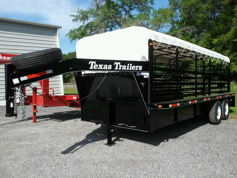 ST2012G TEXAS TRAILERS 20' GOOSENECK STOCK TRAILER W/ COMBO REAR GATE