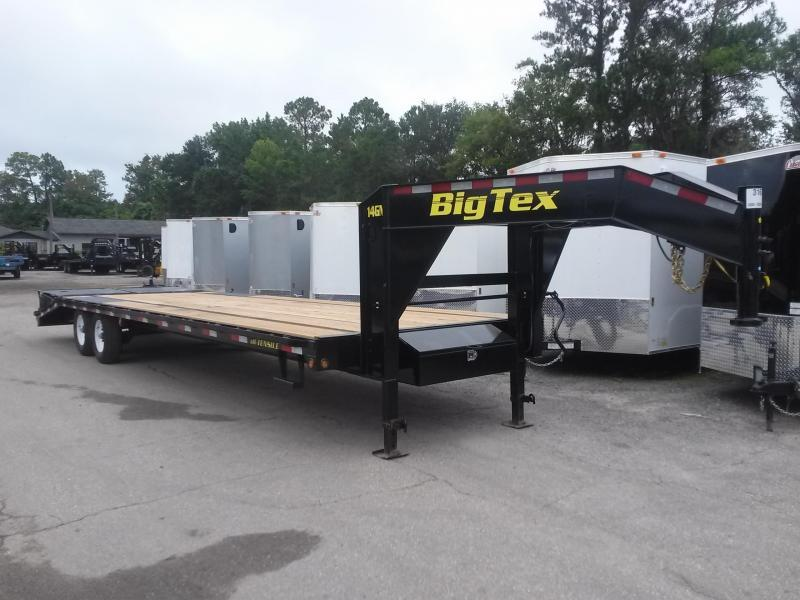14GN-25BK+5MR BIG TEX 30' GOOSENECK TANDEM FLAT BED W/ MEGA RAMPS & FREE SPARE TIRE in FL