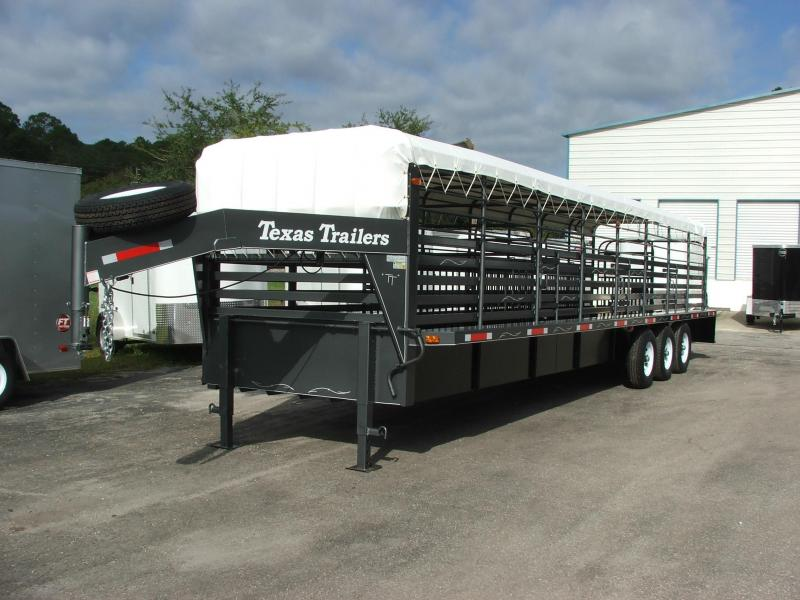 ST3221G TEXAS TRAILERS 32' GOOSENECK STOCK TRAILER W/ TRIPLE AXLES AND CUSTOM OPTIONS in Ashburn, VA