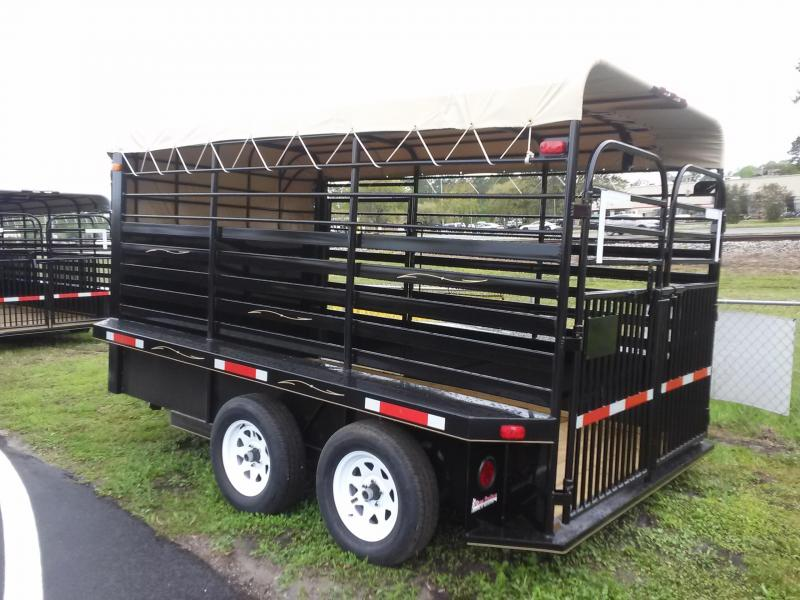 ST1270B TEXAS TRAILERS 12' BUMPER PULL STOCK TRAILER W/ FULL WALK OUT ESCAPE DOOR