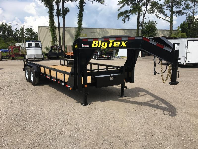 14GP-20 BIG TEX 20' GOOSENECK TANDEM AXLE EQUIPMENT TRAILER W/ 4' RAMPS in FL