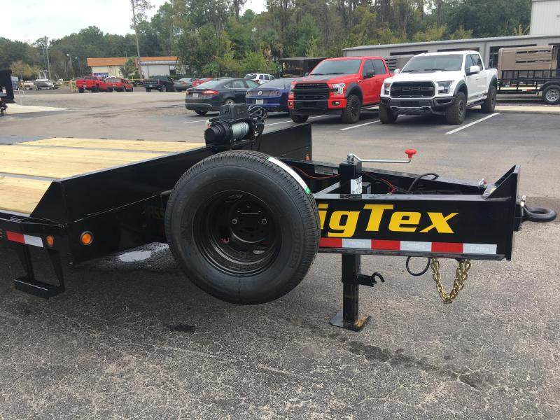 22PH-20BK+5MR BIG TEX 25' FLATBED TRAILER W/ MEGA RAMPS & 8K WARN WINCH PACKAGE