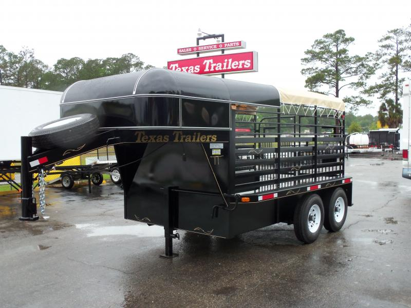 ST1270G TEXAS TRAILERS 12' GOOSENECK STOCK TRAILER W/ 4' HARD NOSE & CALF GATE