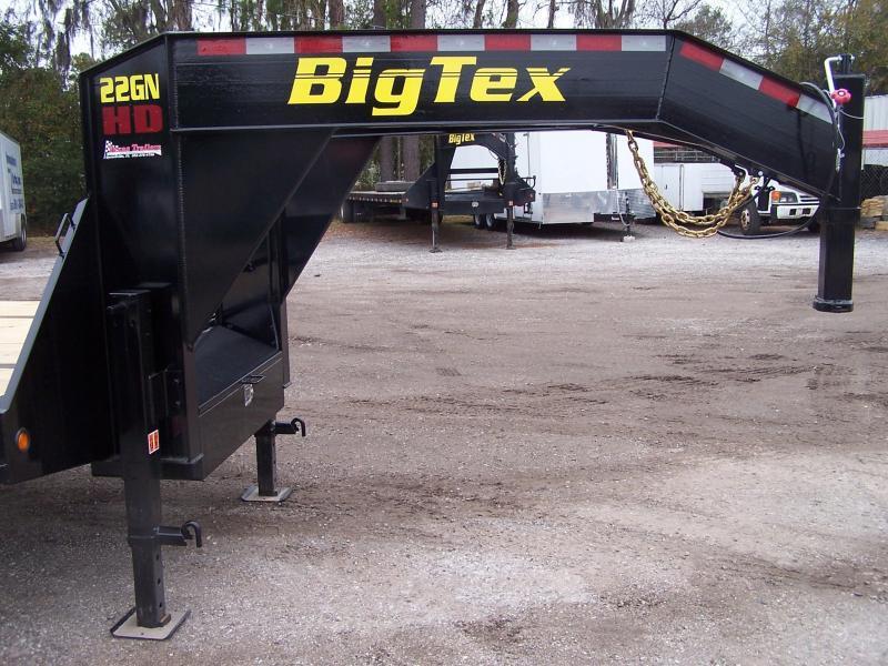 22GN-25BK+5MR BIG TEX 30' GOOSENECK DUAL TANDEM FLAT BED W/ MEGA RAMPS & FREE SPARE TIRE