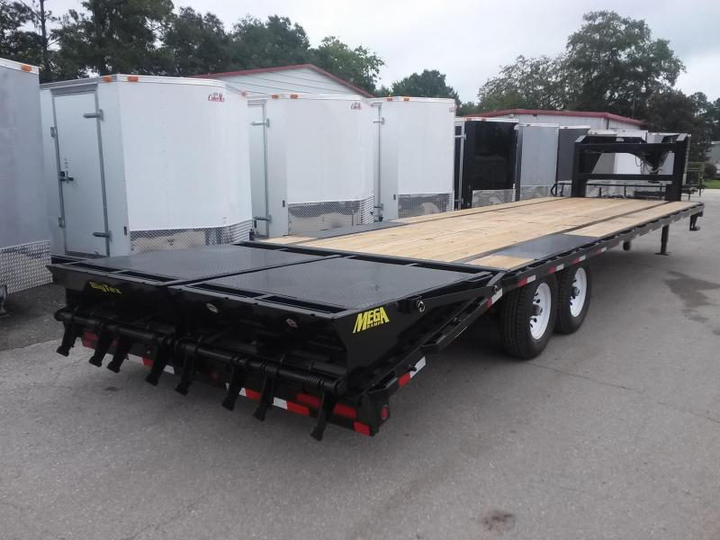 14GN-20BK+5MR BIG TEX 25' GOOSENECK TANDEM FLAT BED W/ MEGA RAMPS & FREE SPARE TIRE