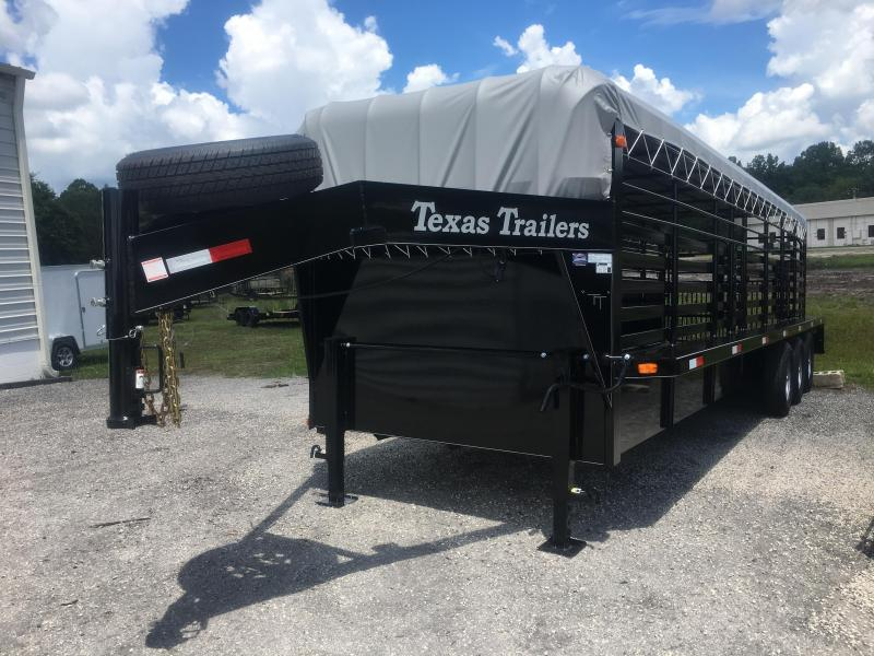 ST2821G TEXAS TRAILERS 28' GOOSENECK STOCK TRAILER W/ TRIPLE AXLES & CUSTOM OPTIONS