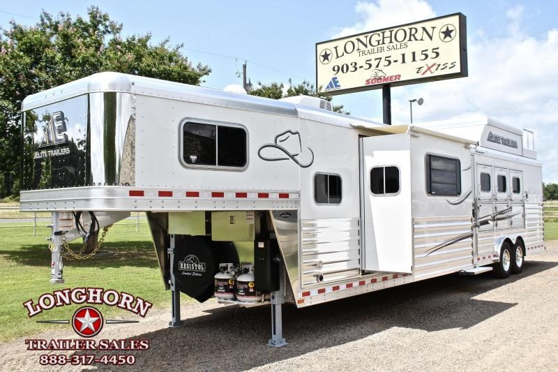 2020 Elite Trailers 4 Horse 15ft Living Quarter Side Load Slide Out Horse Trailer