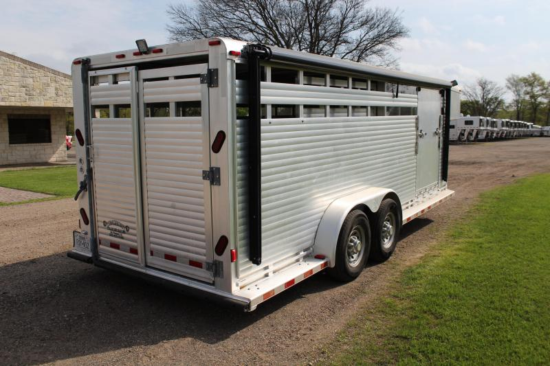 2000 Sooner 20ft Stock Trailer with Side Ramp and Awning