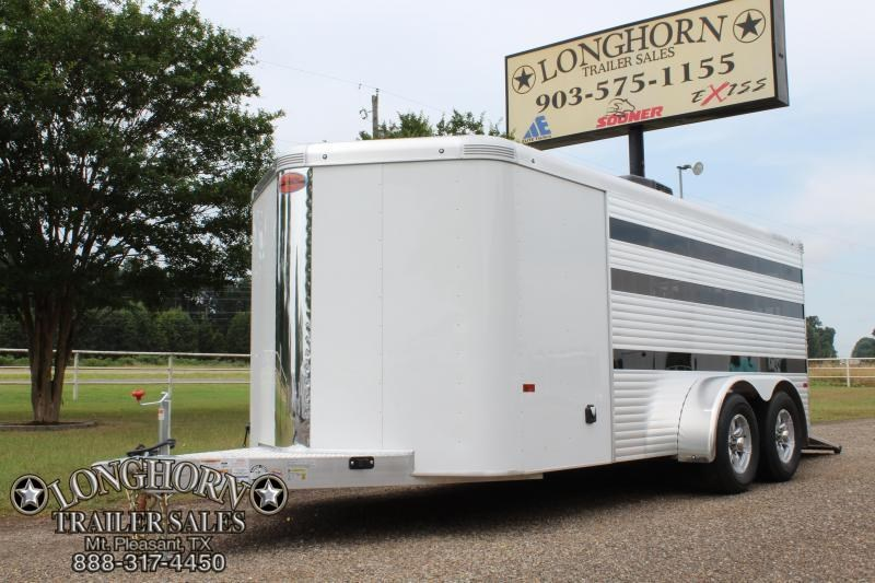 2019 Sundowner Trailers 17.5ft Low Pro with AC/Plugs and Rear Ramp Livestock Trailer
