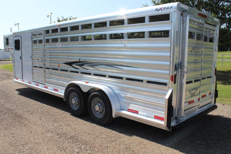 2016 Exiss Trailers 24ft Show Cattle Combo with Side RampChute Rack Livestock Trailer