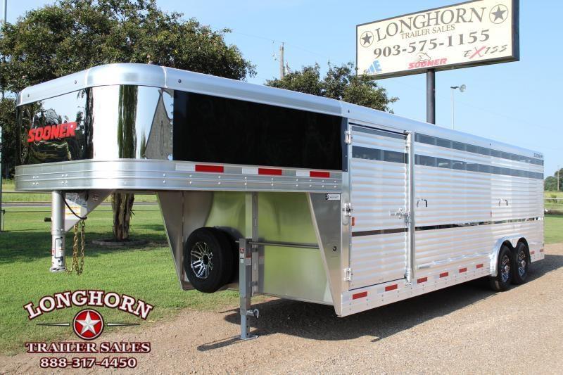 2020 Sooner 24ft x 8ft Show Cattle Stock with Plexiglass Livestock Trailer