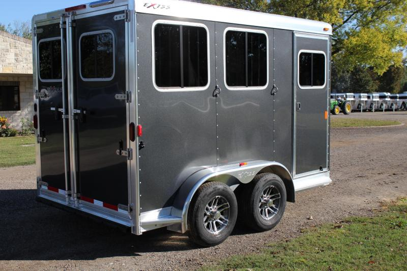 2019 Exiss 2 Horse Bumper Pull with Drop Windows SS Model