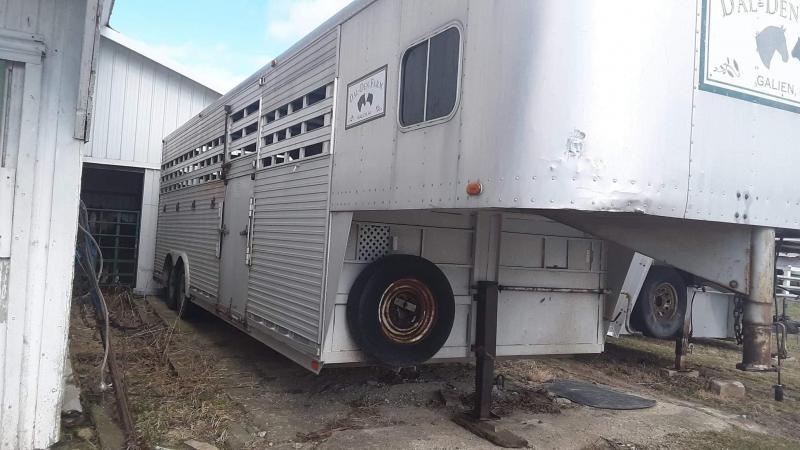 1989 Sooner 8 x 28 Custom Aluminum Livestock Trailer