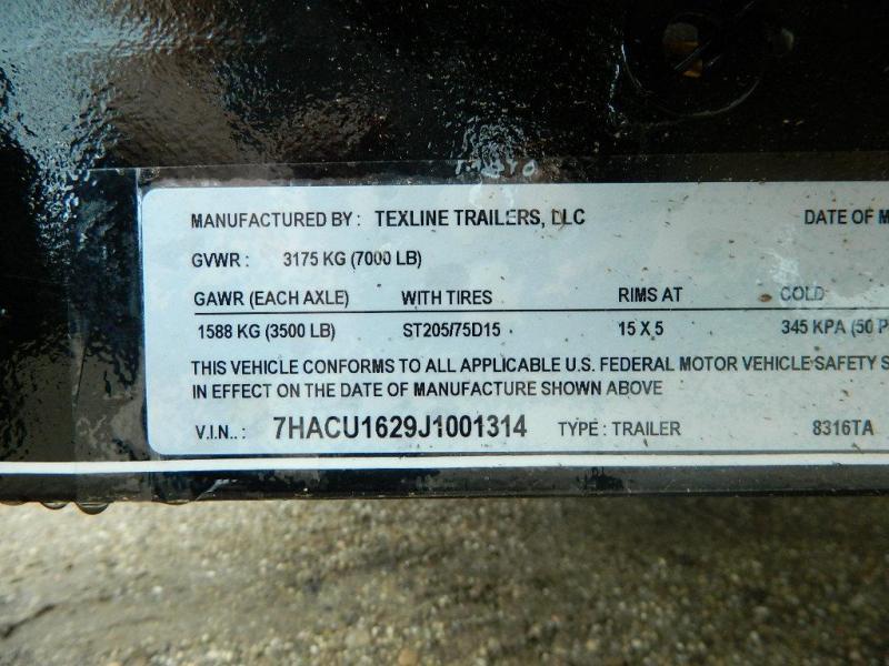 2018 TexLine 77 x 16 TA Texline Utility Trailer