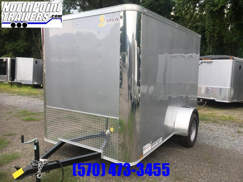 2018 Samson SP6x10SA Enclosed Trailer - Silver - Flat Front