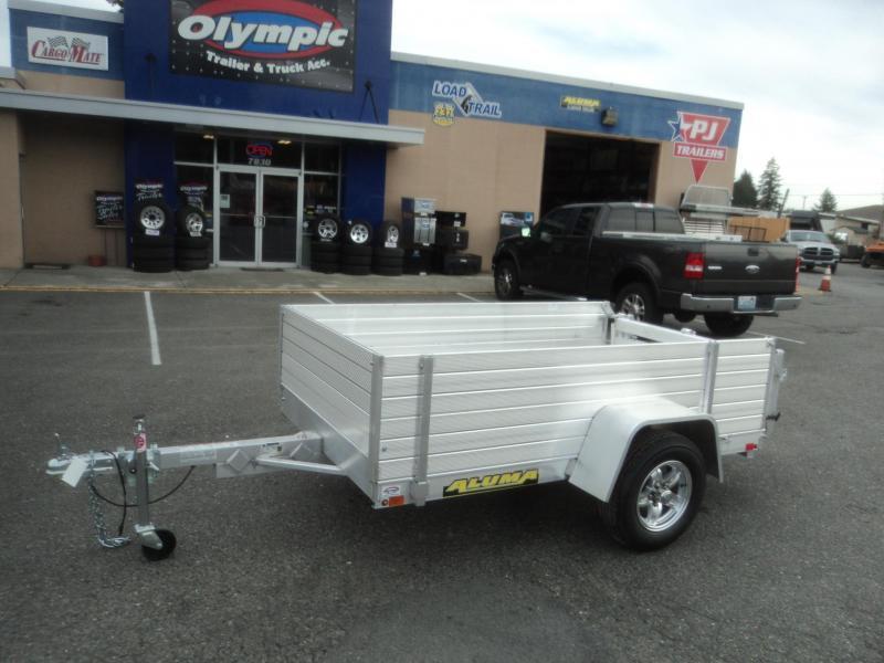 2019 Aluma 4.5x8 w/Solid Side Kit and Bi-Fold Tailgate Utility Trailer