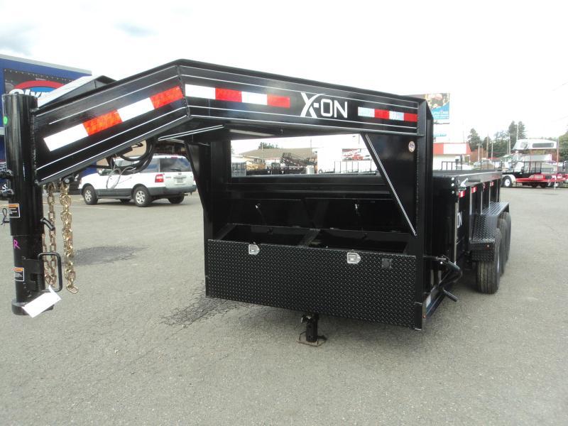 """2019 X-On 7x16 21K Gooseneck 8"""" I Beam Dump Trailer w/Tarp Kit/Ramps++"""