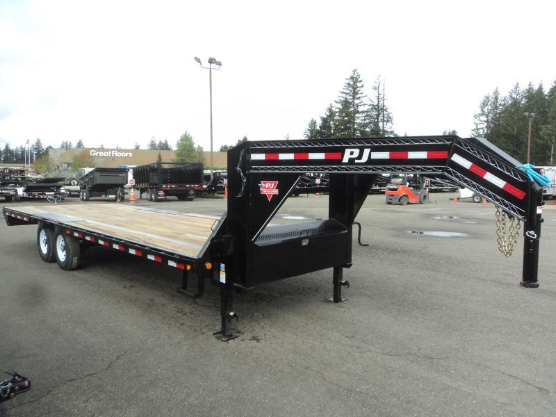 2020 PJ LS 8.5x25 Gooseneck Low-Pro Flatdeck with Singles