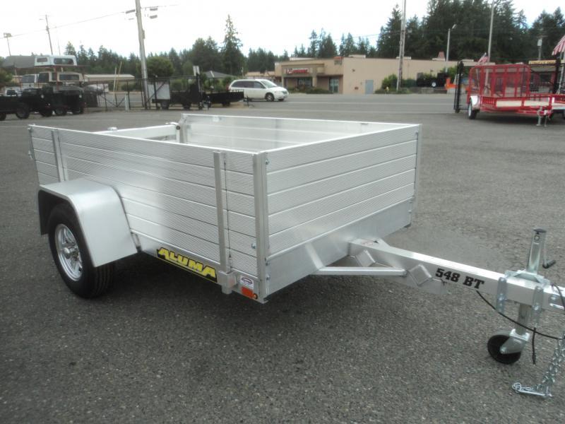 2019 Aluma 4.5x8 w/Solid Side Kit and Bi Fold Tailgate Utility Trailer