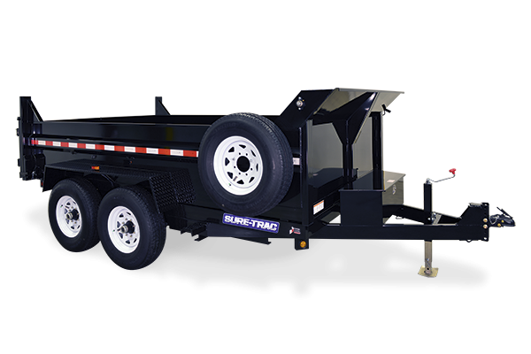 2019 Sure-Trac 7x16 14K LowProfile Dump Trailer SCISSOR-HIGH SIDES]