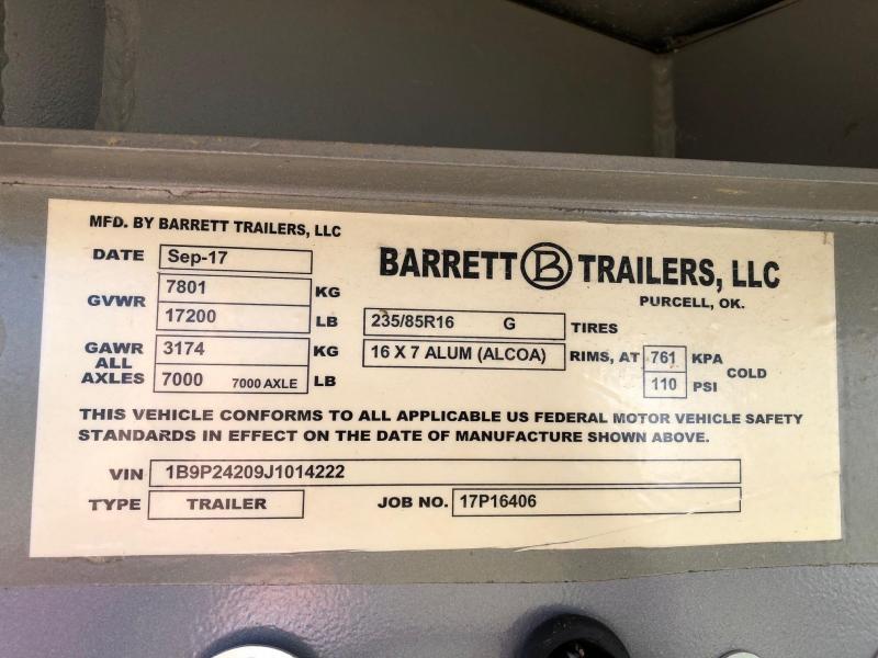 2018 Barrett Trailers PUNCHSIDE GOOSENECK Livestock Trailer