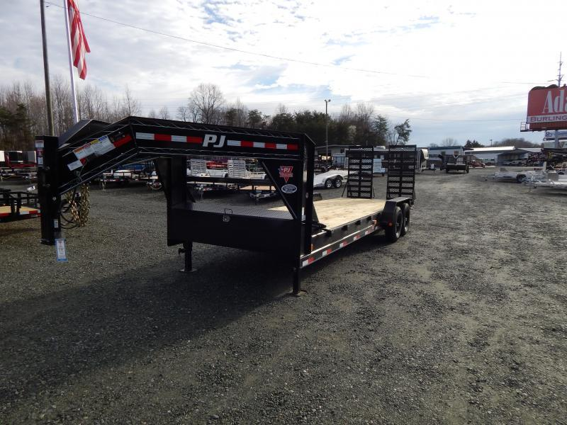 "2019 PJ Trailers 24' C8 Gooseneck w/ 31""X66"" HD Fold Up Ramps"