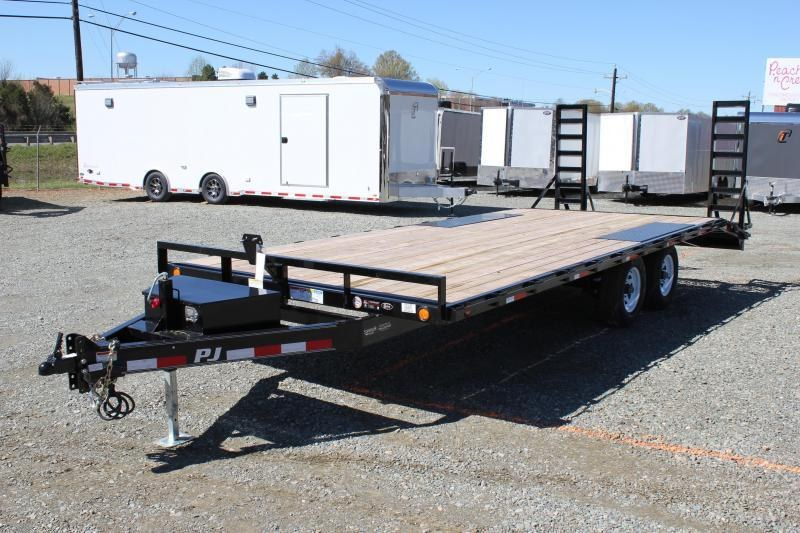 2020 PJ Trailers 22 L6 10K Deckover w/ Tongue Box & Fold Up Ramps
