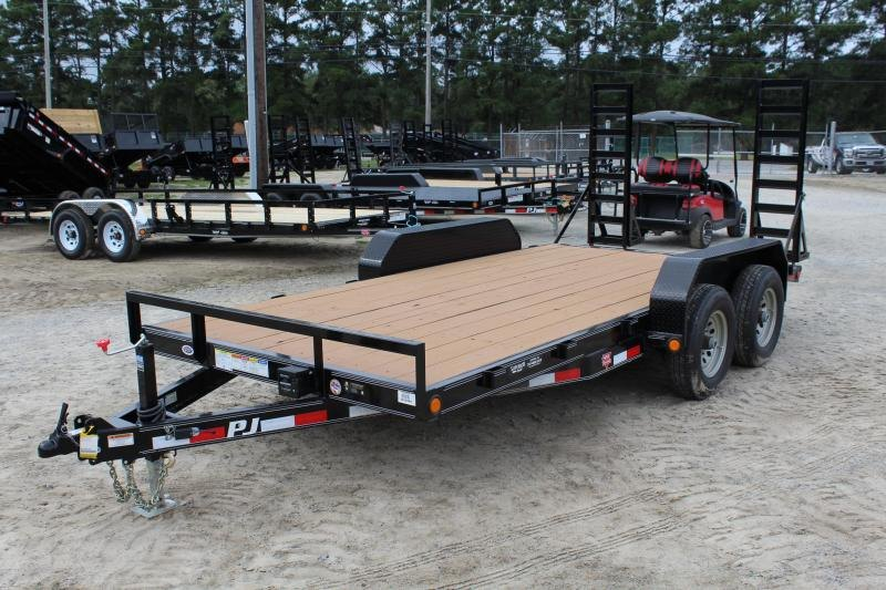 2019 PJ Trailers 16' CE 10K Equipment Trailer w/ Fold Up Ramps