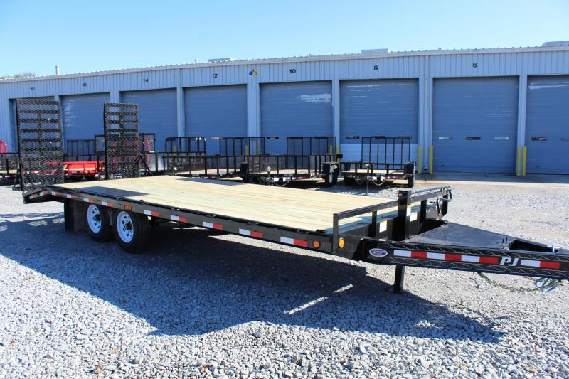 "2019 PJ Trailers 22ft F8 14K Deckover w/31""x66"" HD Foldup Ramps"