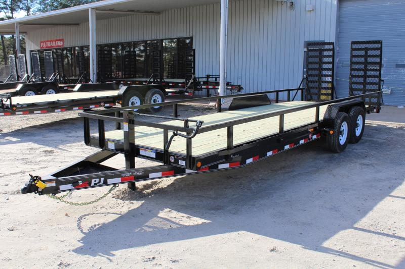 2019 PJ Trailers 24' CC 14K Equipment Trailers w/ Fold Up Ramps