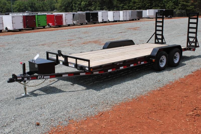 2019 PJ Trailers 20' CE 10K w/ Tongue Box and Fold Up Ramps