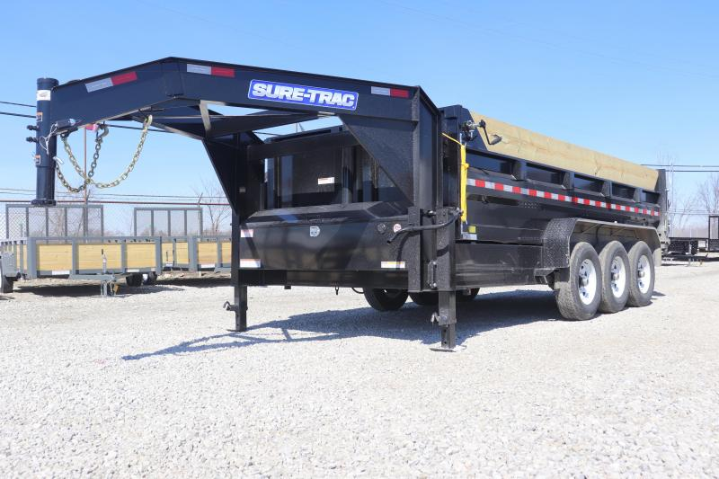 2019 Sure-Trac 82INx16 21K Low Pro Telescopic Gooseneck Dump Trailer