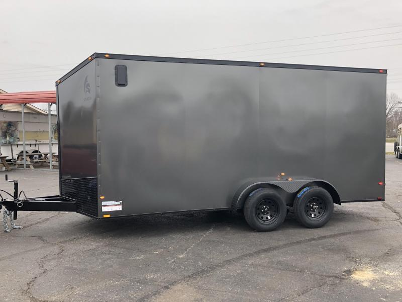 2019 Spartan 7x16x7 TA Charcoal Blackout Enclosed Cargo Trailer