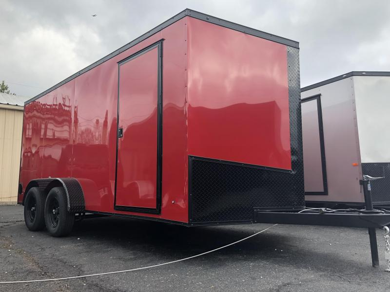 2019 Eagle Trailer 7x16TA Red Blackout .030 Screwless Exterior Enclosed Cargo Trailer