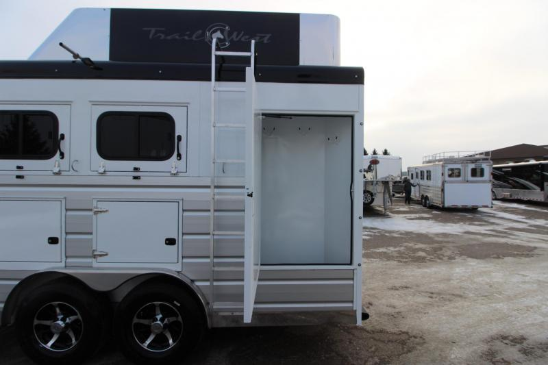 2019 Trails West Manufacturing 3HR Sierra 13' LQ with Slide Out Horse Trailer